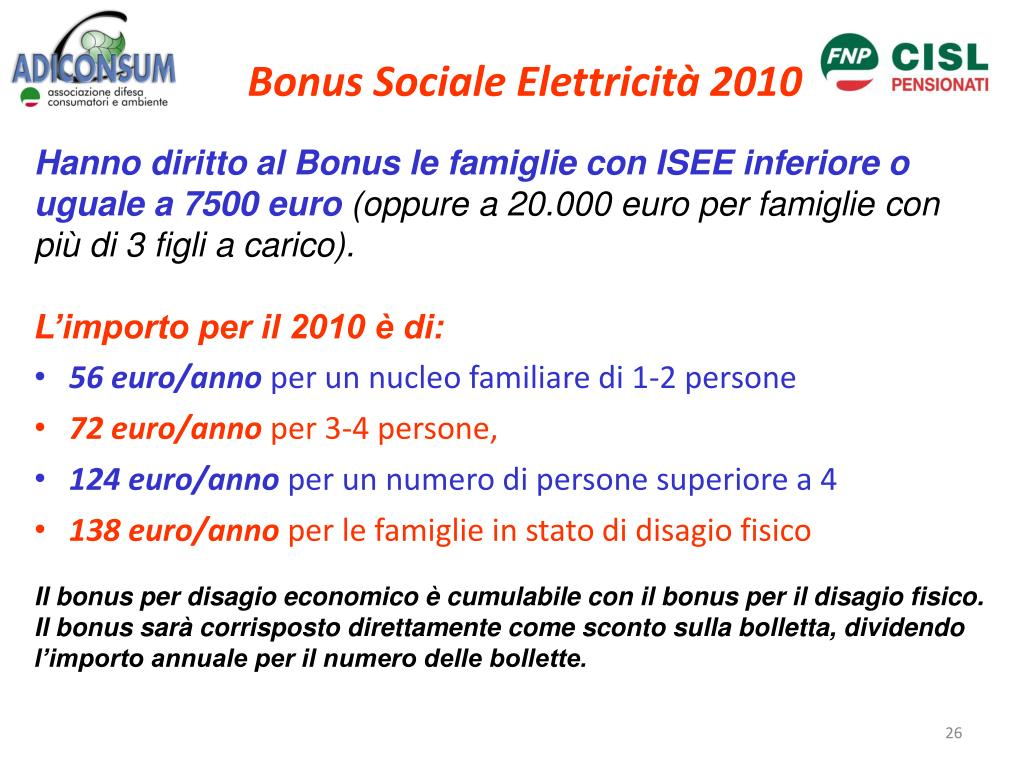 Bonus Sociale Elettricità 2010