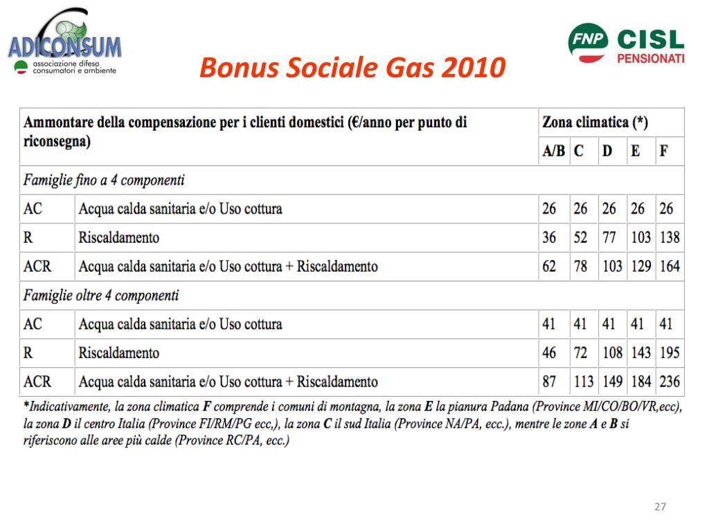 Bonus Sociale Gas 2010