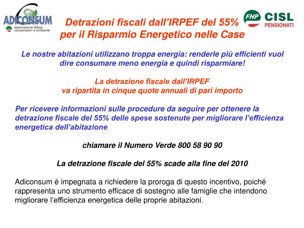 Detrazioni fiscali dall'IRPEF del 55%