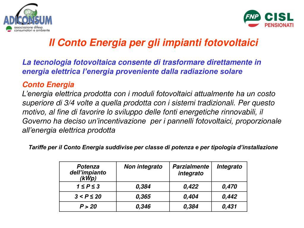 Il Conto Energia per gli impianti fotovoltaici