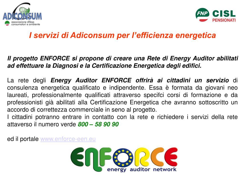 I servizi di Adiconsum per l'efficienza energetica