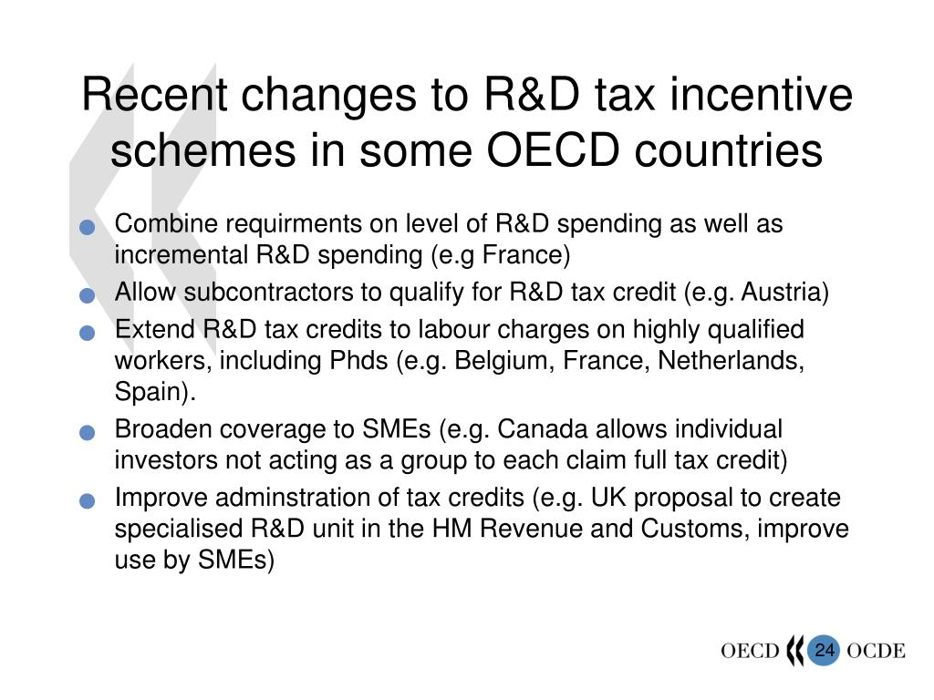 Recent changes to R&D tax incentive schemes in some OECD countries