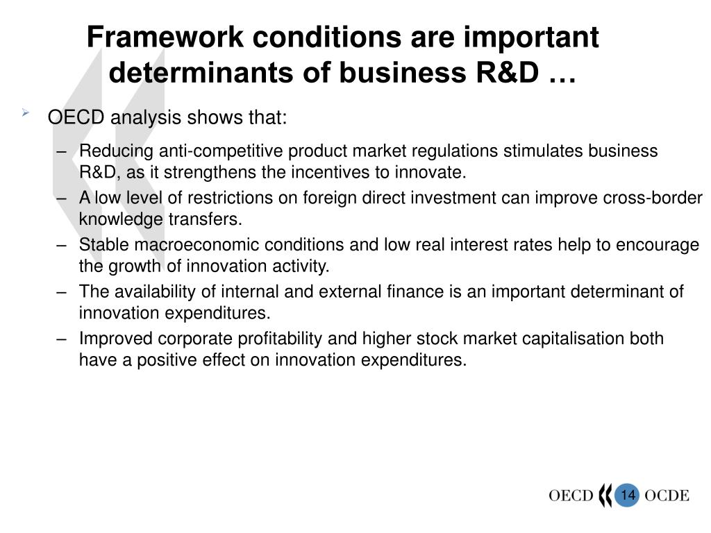 Framework conditions are important determinants of business R&D …