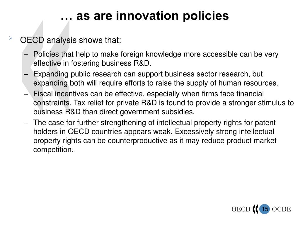 … as are innovation policies
