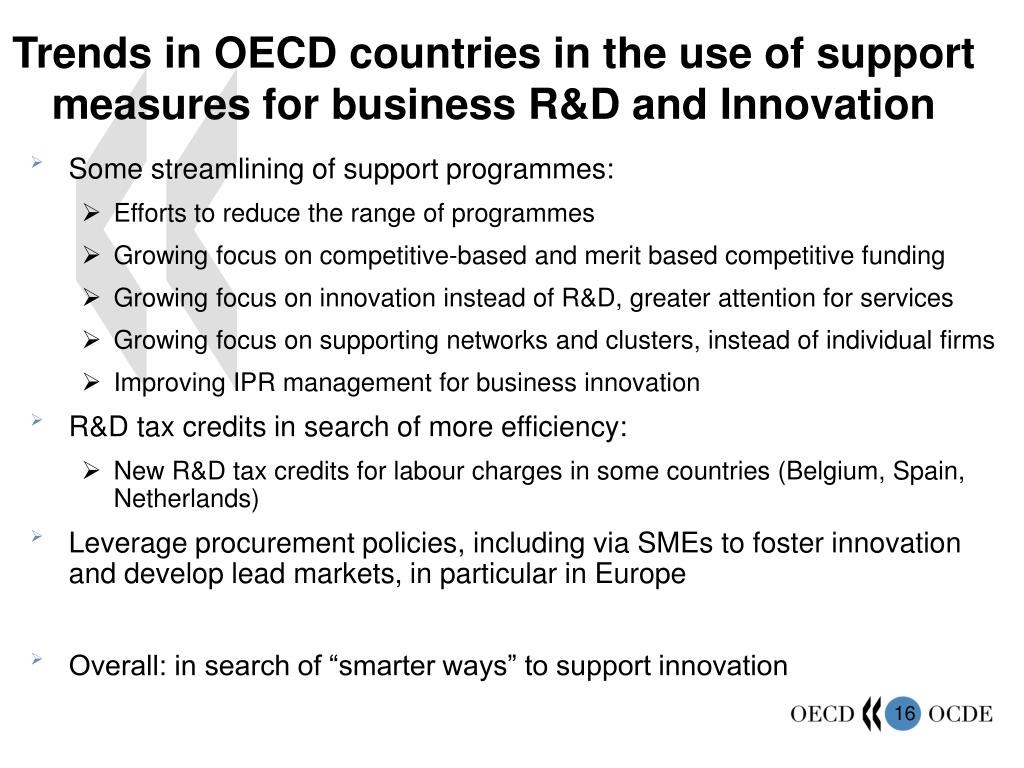 Trends in OECD countries in the use of support measures for business R&D and Innovation