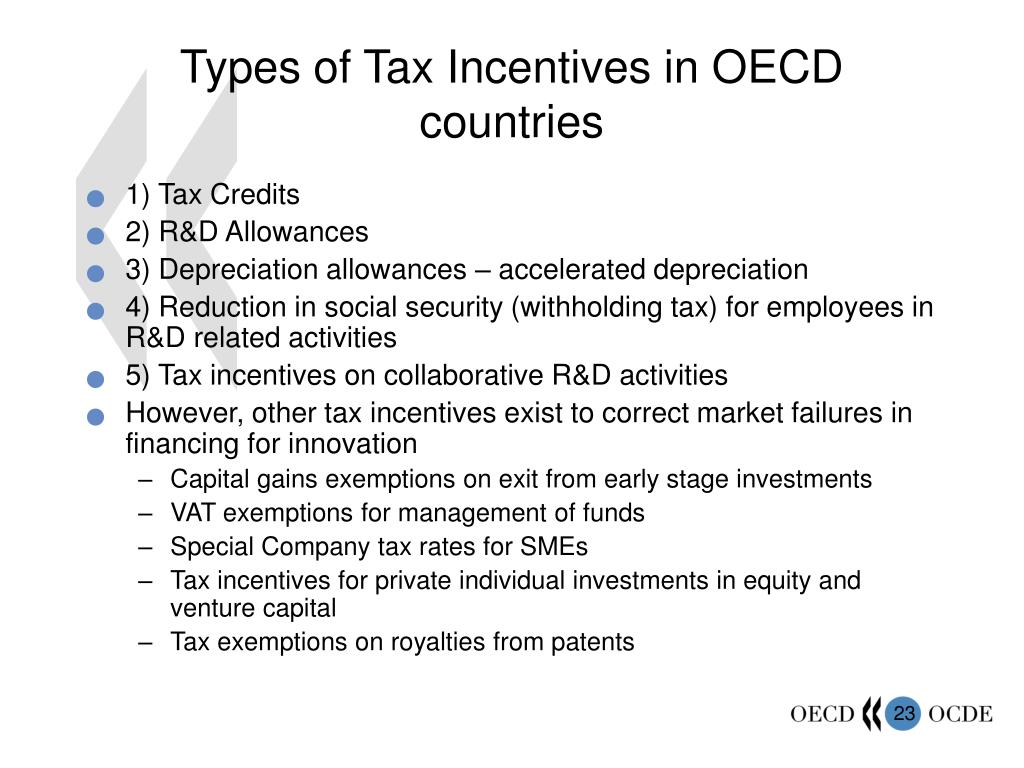 Types of Tax Incentives in OECD countries