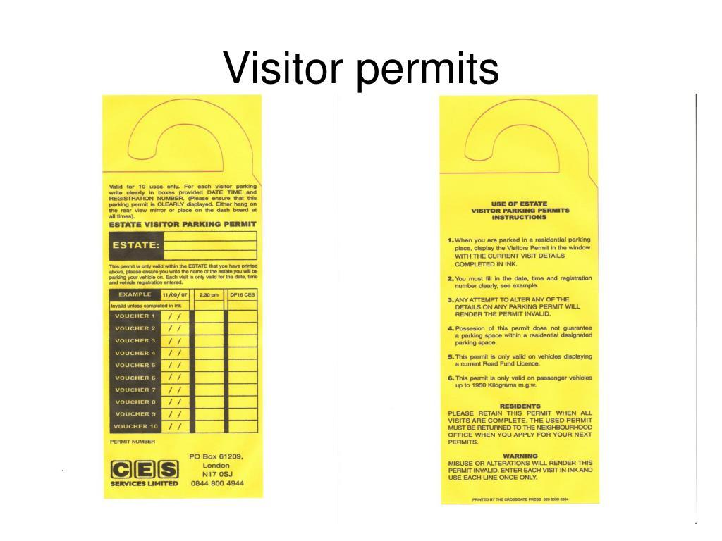 Visitor permits