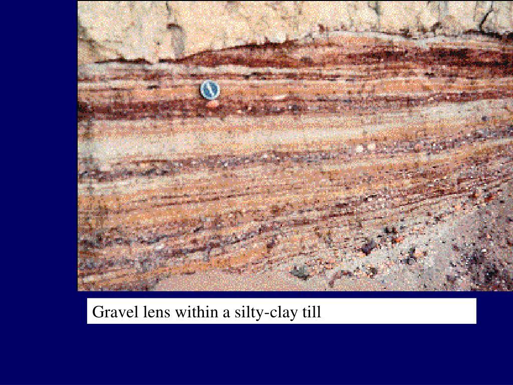 Gravel lens within a silty-clay till