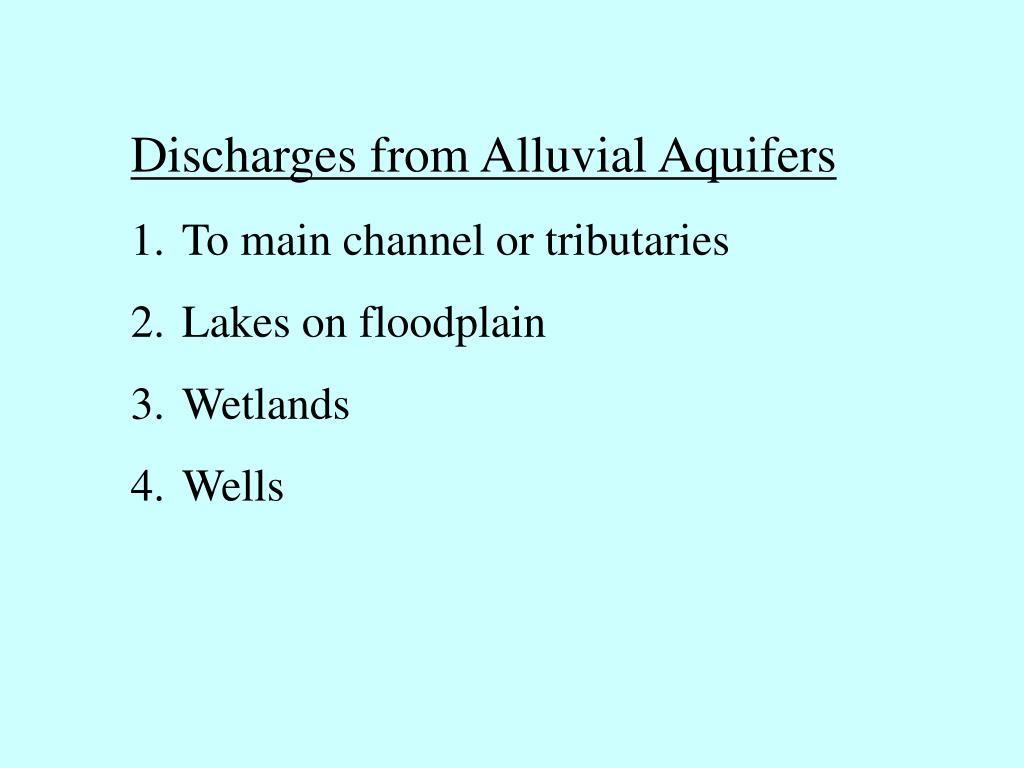 Discharges from Alluvial Aquifers