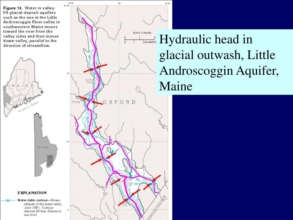 Hydraulic head in glacial outwash, Little Androscoggin Aquifer, Maine