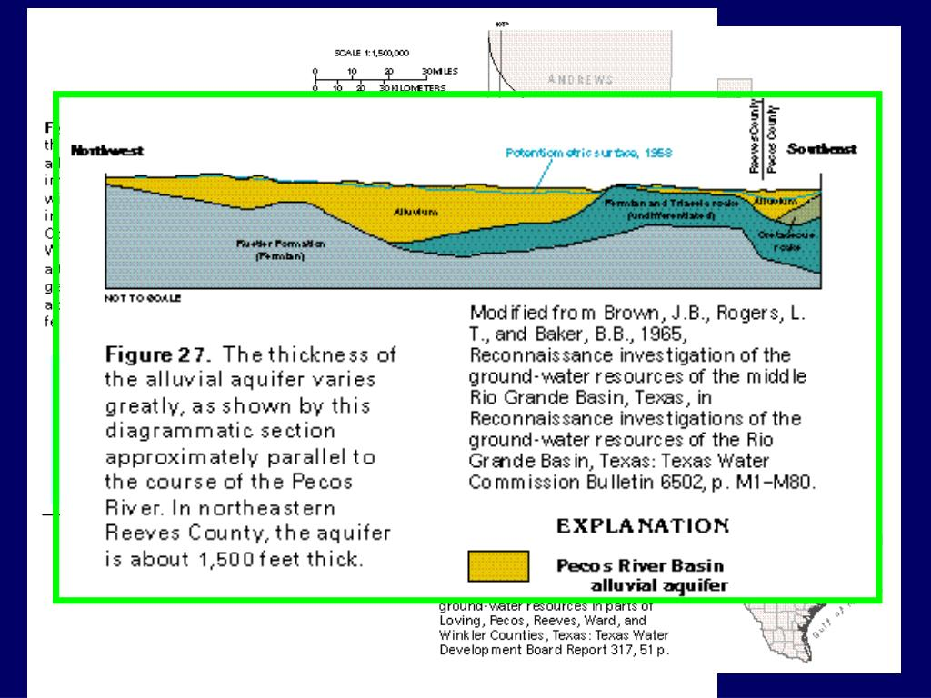 Dissolution of underlying evaporites forms deep troughs in Pecos River Basin