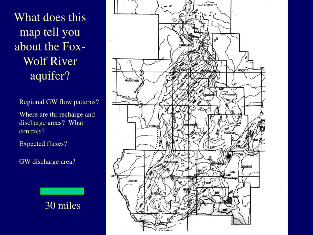What does this map tell you about the Fox-Wolf River aquifer?
