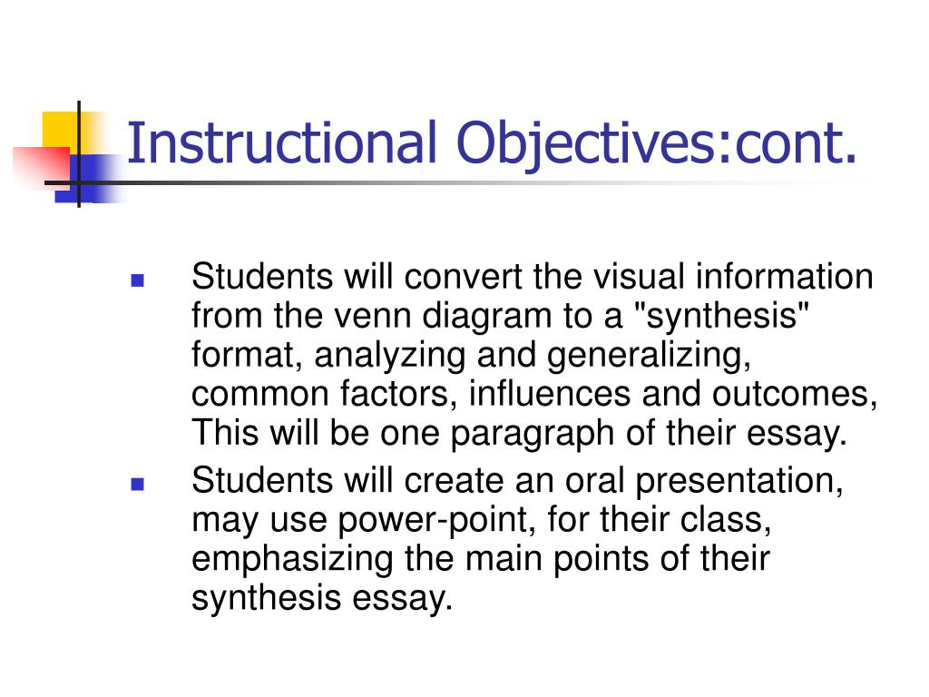 objective synthesis essay