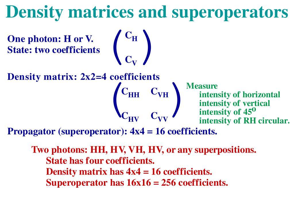 Density matrices and superoperators