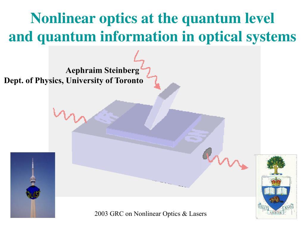 Nonlinear optics at the quantum level