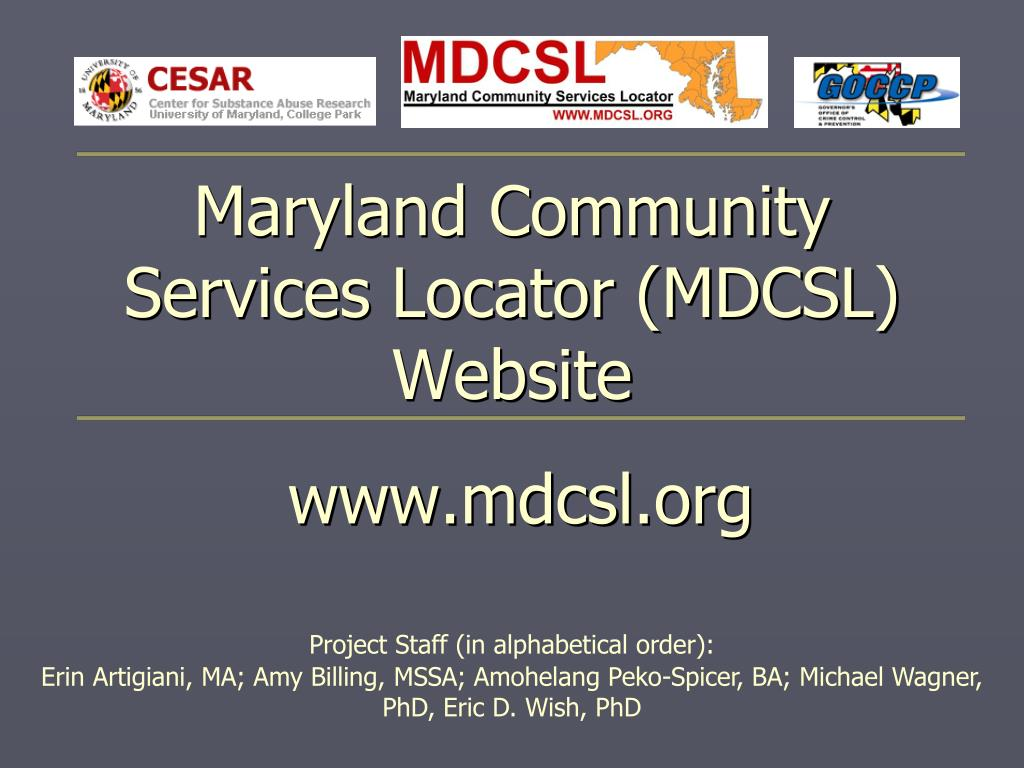 Maryland Community Services Locator (MDCSL) Website