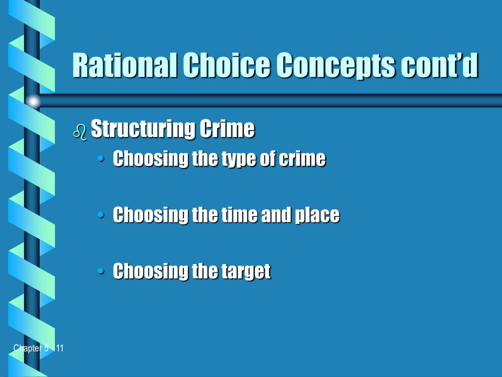 rational choice Rational choice theory and its assumptions about human behavior have been integrated into numerous criminological theories and criminal justice interventions rational choice theory originated during the late 18th century with the work of cesare beccaria since then, the theory has been expanded.