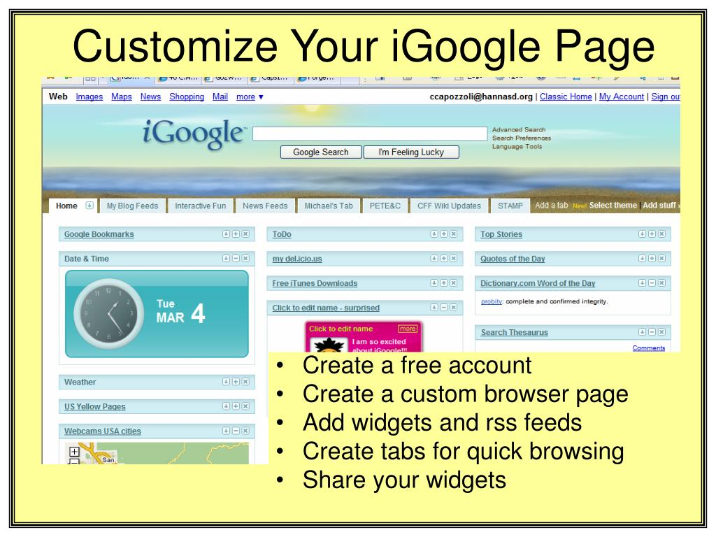 Customize Your iGoogle Page