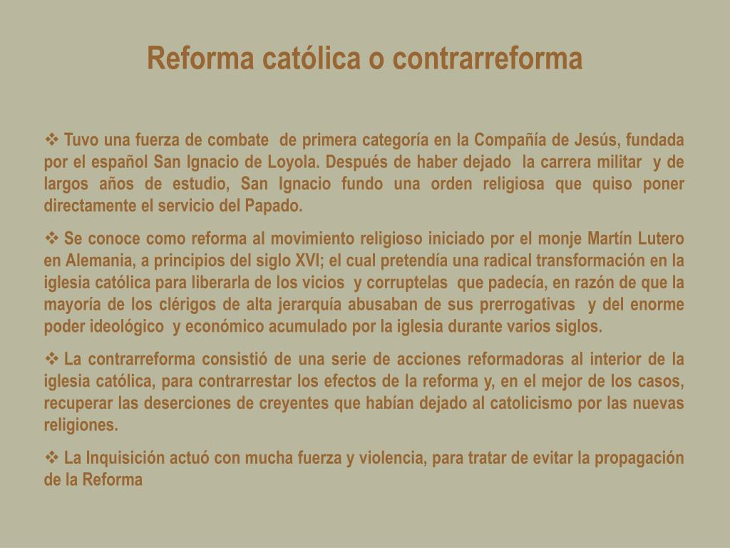 Reforma católica o contrarreforma