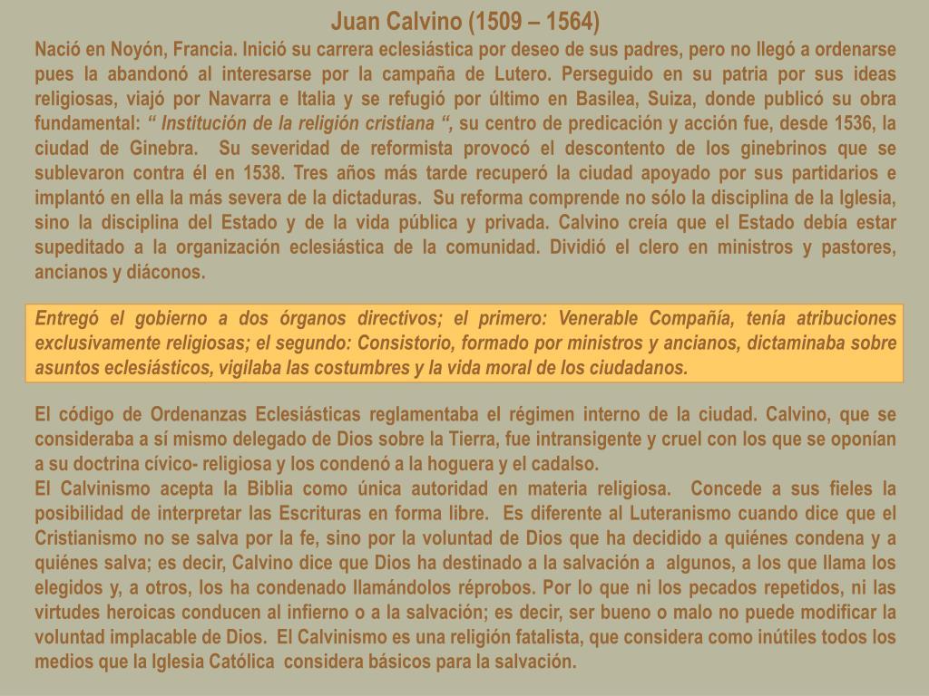 Juan Calvino (1509 – 1564)