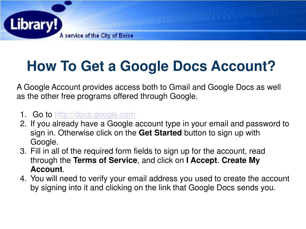 How To Get a Google Docs Account?