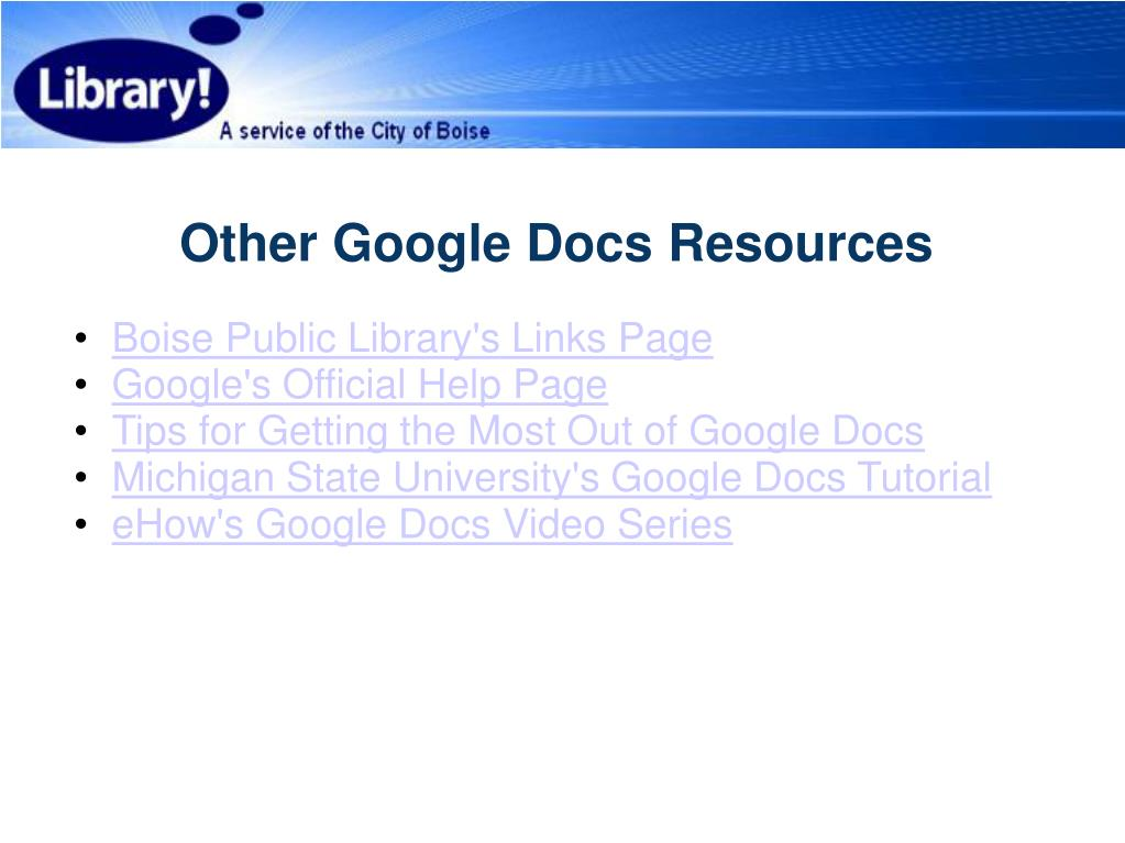 Other Google Docs Resources