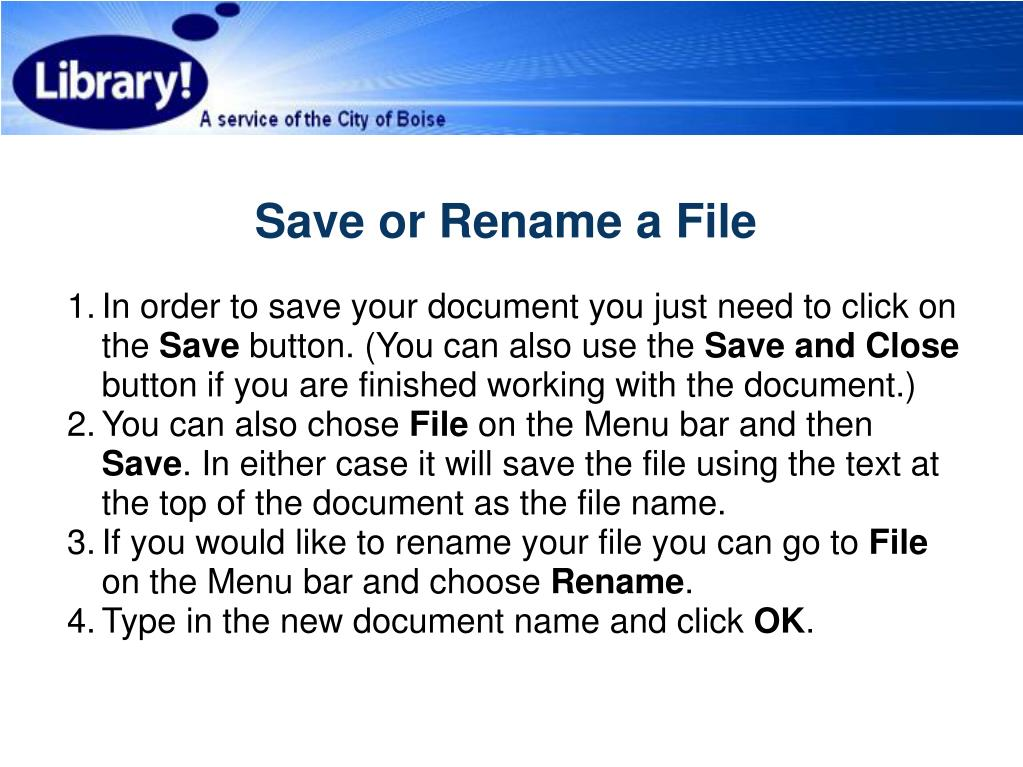 Save or Rename a File