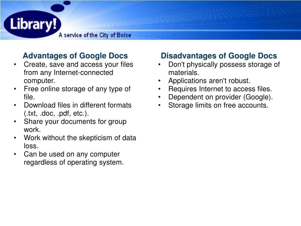 Advantages of Google Docs