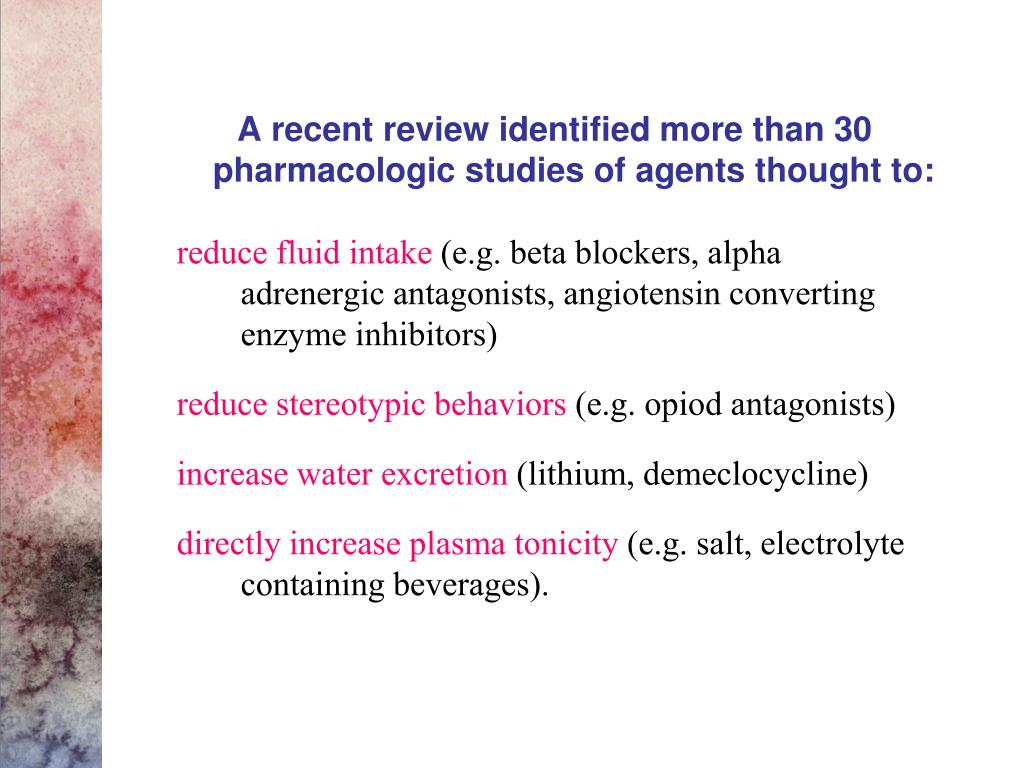 A recent review identified more than 30 pharmacologic studies of agents thought to: