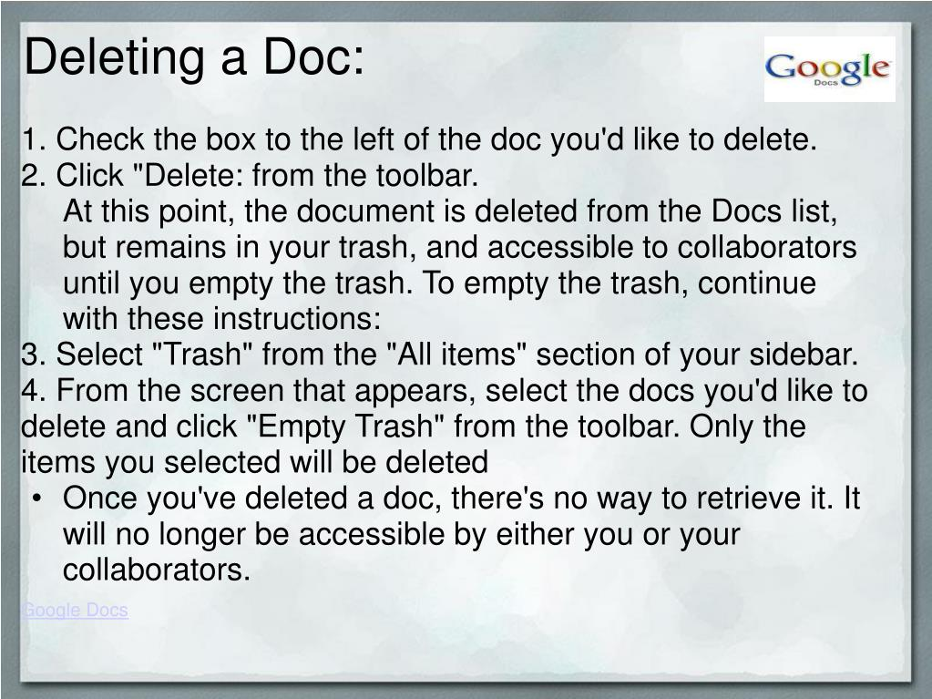 Deleting a Doc: