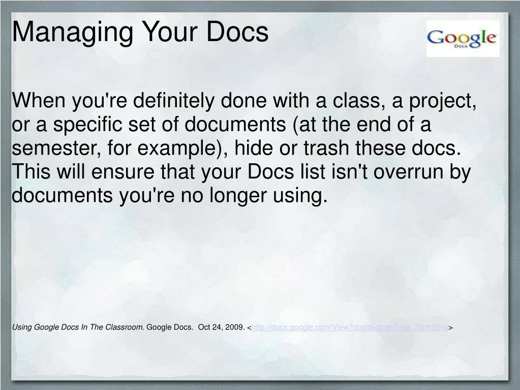 Managing Your Docs