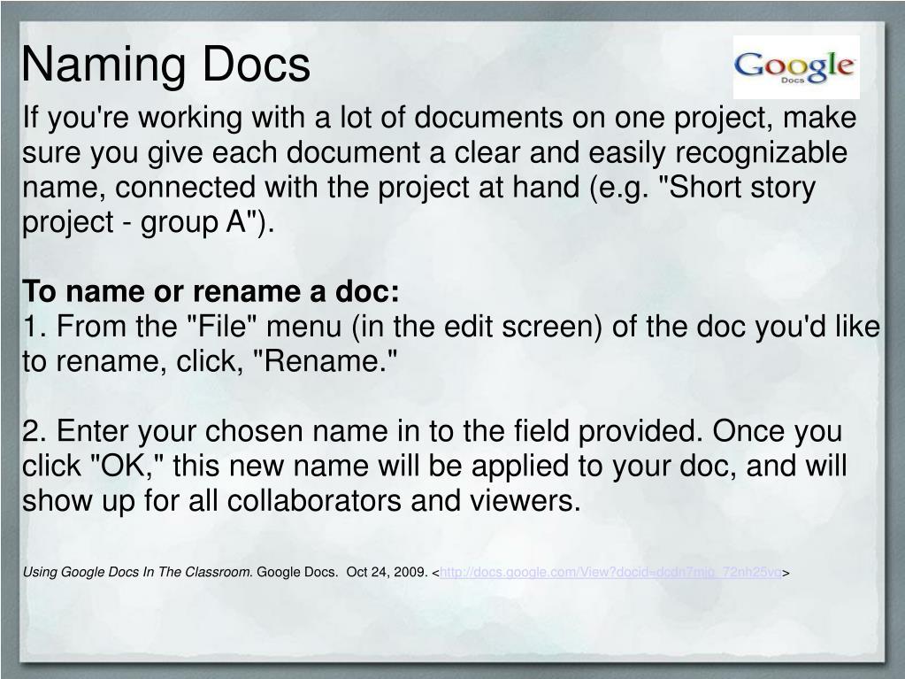 Naming Docs