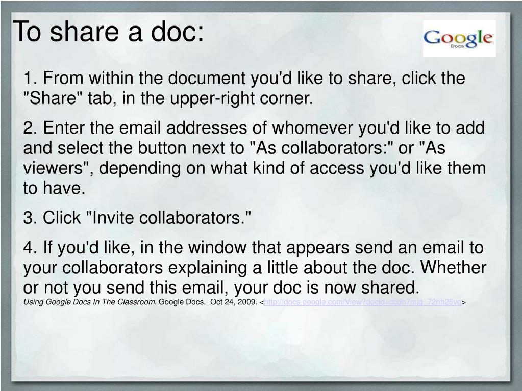 To share a doc: