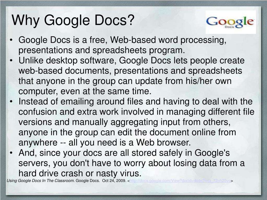 Why Google Docs?