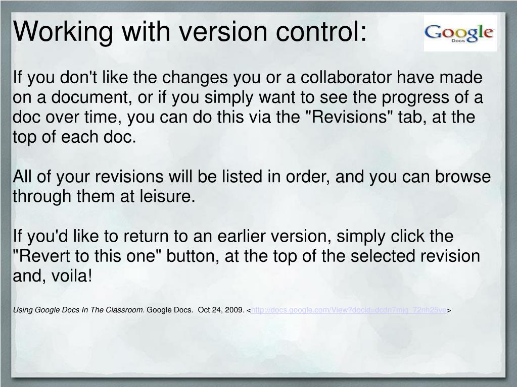 Working with version control: