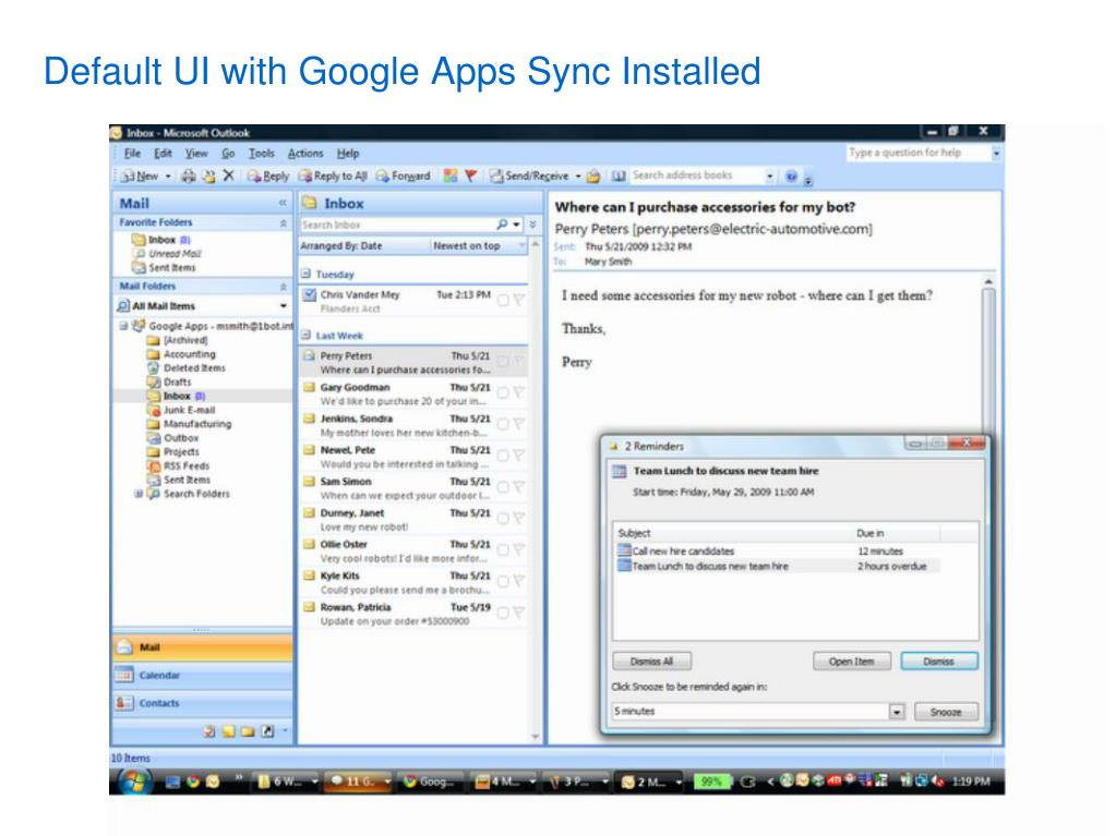 Default UI with Google Apps Sync Installed