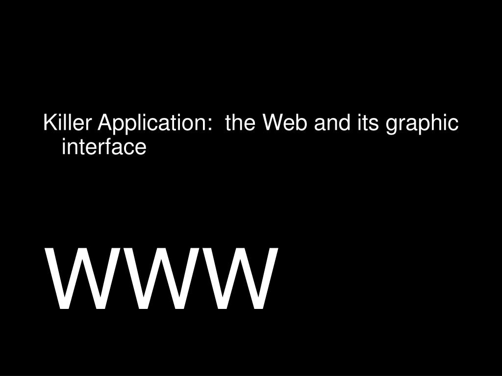 Killer Application:  the Web and its graphic interface