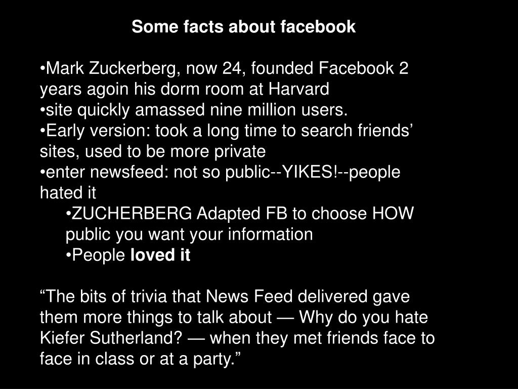 Some facts about facebook