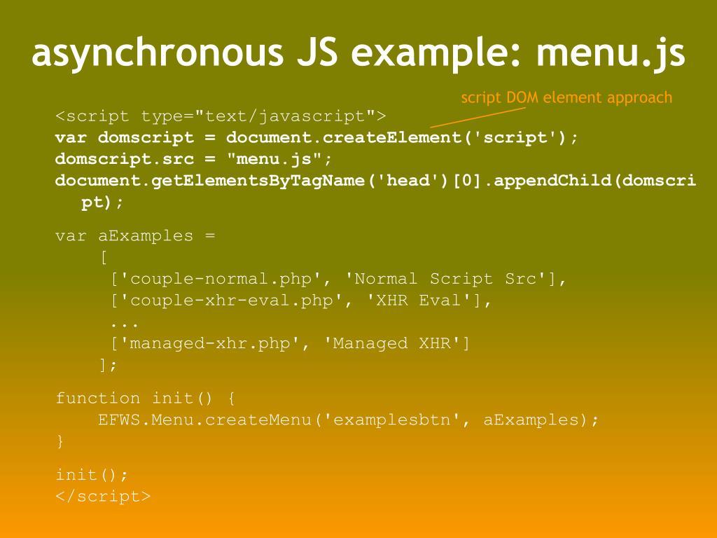 asynchronous JS example: menu.js