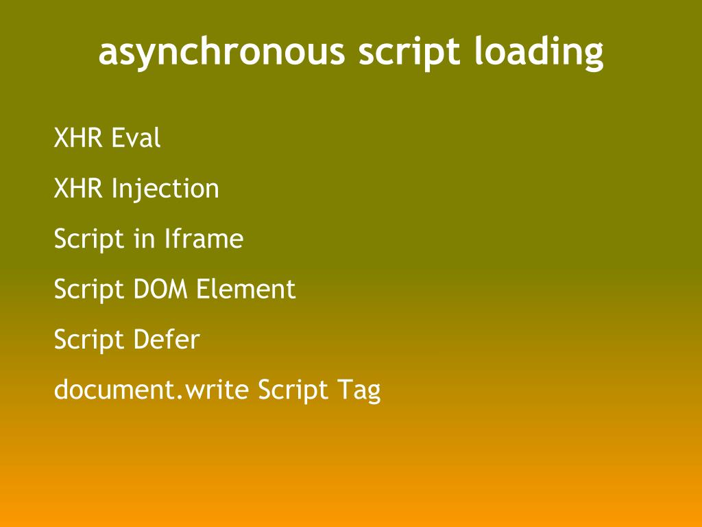 asynchronous script loading