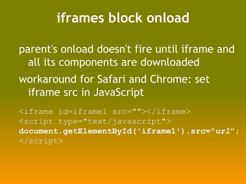 iframes block onload