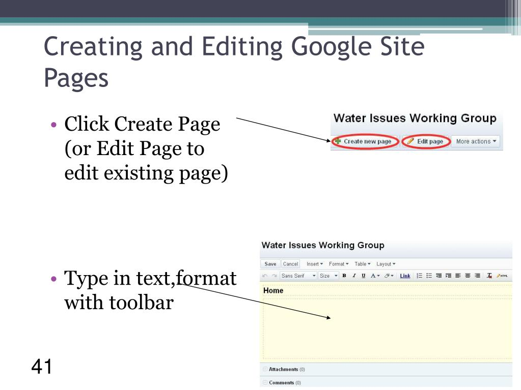 Creating and Editing Google Site Pages