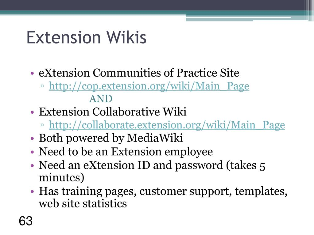 Extension Wikis