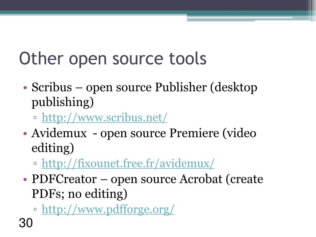 Other open source tools