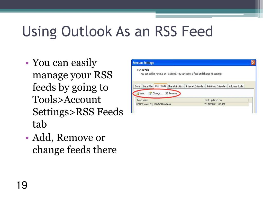 Using Outlook As an RSS Feed