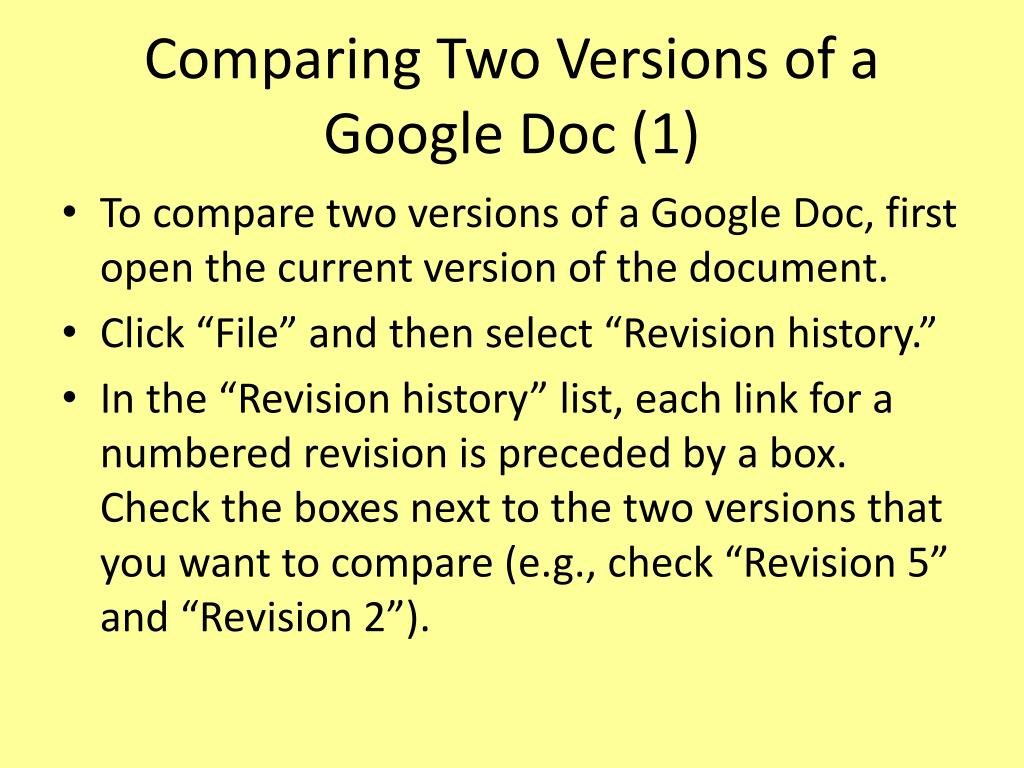 Comparing Two Versions of a Google Doc (1)