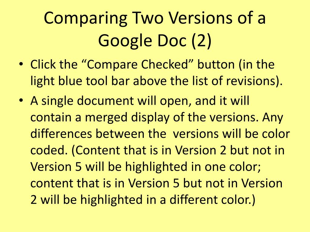 Comparing Two Versions of a Google Doc (2)