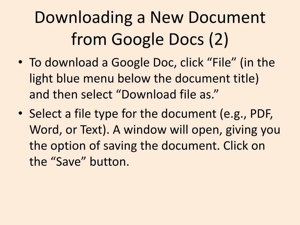 Downloading a New Document