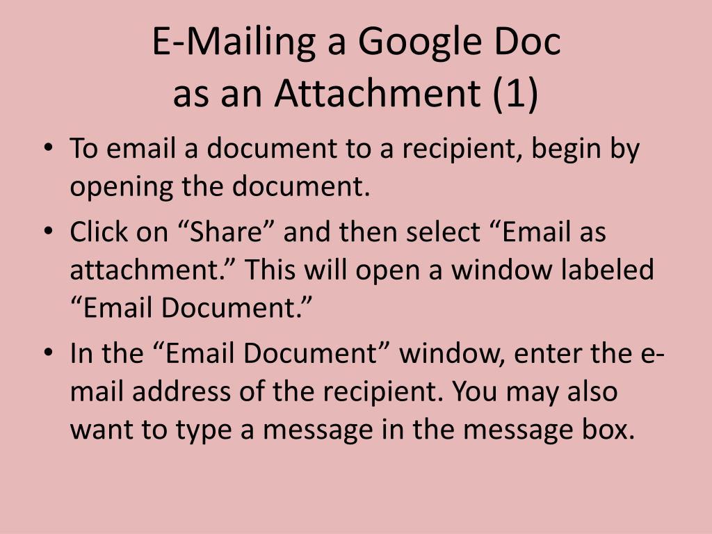 E-Mailing a Google Doc