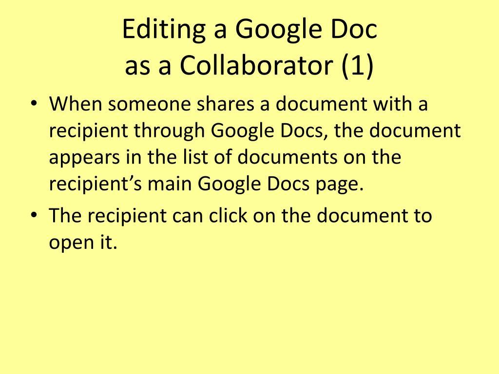 Editing a Google Doc